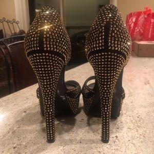 Steve Madden gold jeweled high heels